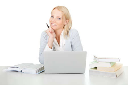 Beautiful student girl studying with laptop Stock Photo - 12475337