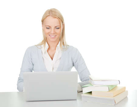 Beautiful student girl studying with laptop Stock Photo - 12475291