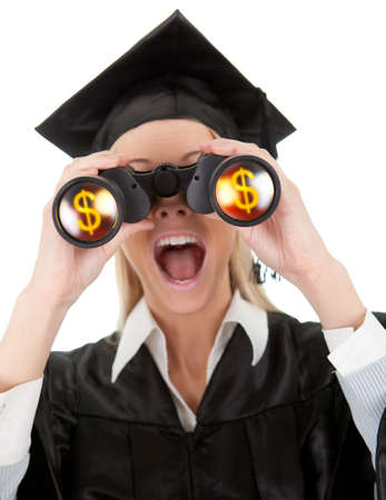 open mouth: Student looking through binoculars