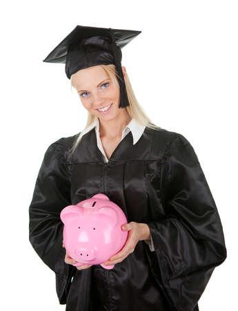 scholarship: Female graduate student holding piggybank