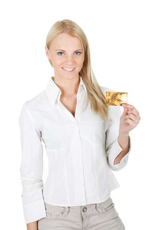businesswoman card: Businesswoman holding credit card