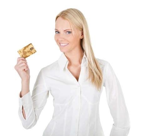 bank overschrijving: Zakenvrouw bedrijf creditcard Stockfoto