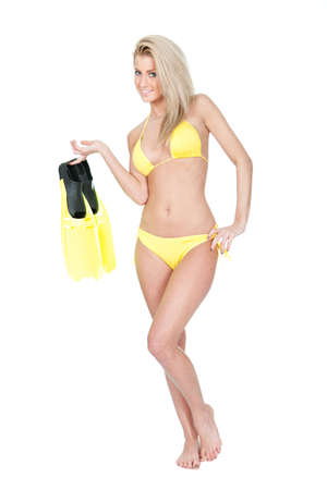 Beautiful young woman in bikini with snorkel. Isolated on white photo
