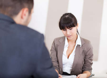 Young businesswoman at the hiring interview in the office photo