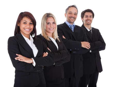 사업 사람들의 다양 한 그룹은 자신있게 흰색 배경에 함께 서 스톡 콘텐츠
