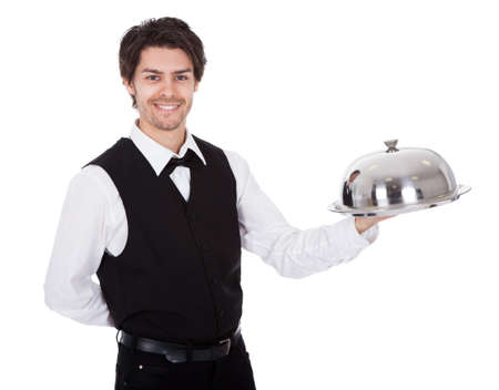 Portrait of a butler with bow tie and tray. Isolated on white Stock Photo - 13888337