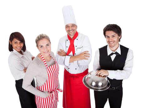 레스토랑 요리사와 웨이터의 그룹입니다. 흰색에 고립 스톡 콘텐츠