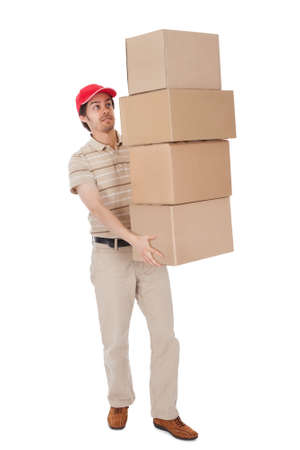 man carrying box: Delivery man carrying stack of boxes. Isolated on white