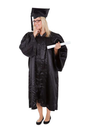 Beautiful female student graduating. Isolated on white photo