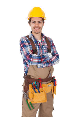toolbelt: Confident worker wearing toolbelt. Isolated on white