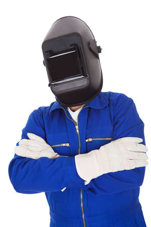 blue helmet: Portrait of confident welder in the mask. Isolated on white