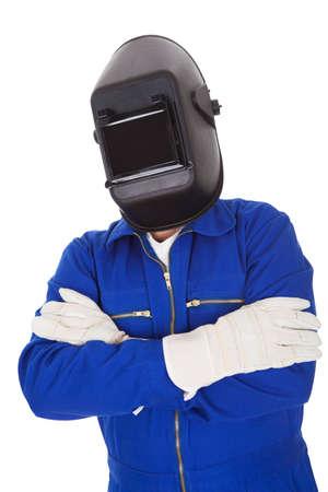 Portret van vertrouwen lasser in het masker. Geà ¯ soleerd op wit Stockfoto