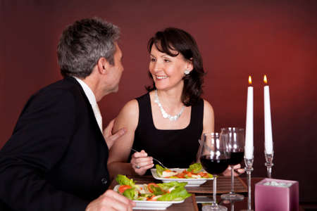 Mature couple having romantic dinner in restaurant Stock Photo - 13907958