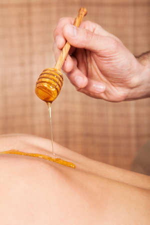Beautiful young woman receiving spa treatment with honey Stock Photo - 14017722