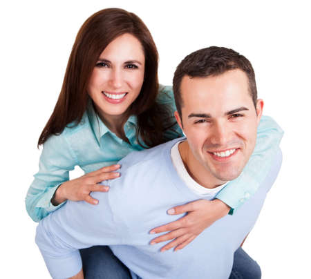 happy couple white background: Portrait of beautiful young couple. Isolated on white Stock Photo