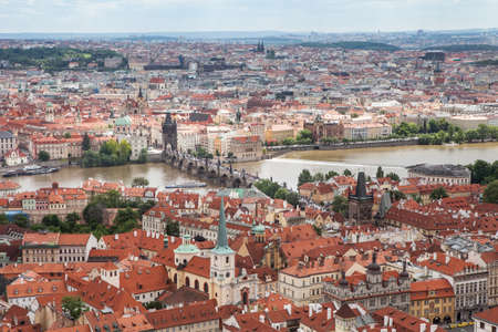 praha: Panorama of Charles bridge, View From Castle, Prague, Czech Republic, Stock Photo