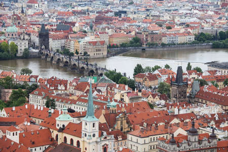 Panorama of Charles bridge, View From Castle, Prague, Czech Republic, photo