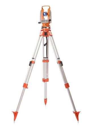 surveying: Survey equipment theodolite on a tripod  Isolated on white