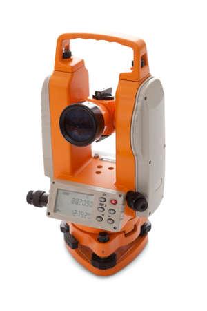 teodolito: Teodolito Encuesta de equipos con display digital aislado en blanco