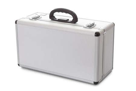 Photos of metal suitcase. Isolated on white photo