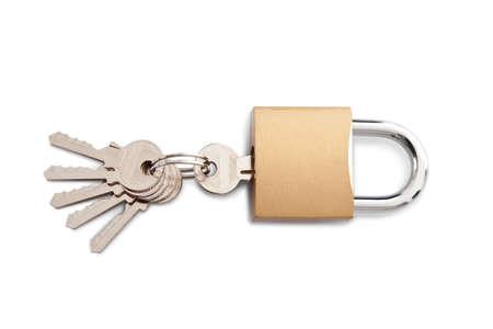 Lock and set of keys. Isolated on white Stock Photo - 14182716