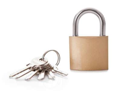 Lock and set of keys. Isolated on white Stock Photo - 14184755