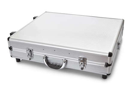 Photos of metal suitcase. Isolated on white Stock Photo - 14182811