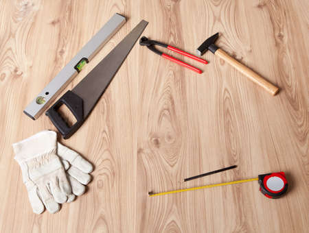 Photo of carpenter tools and building plan Stock Photo - 14183392