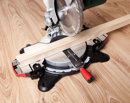 Electrical saw with circular blade for wood photo
