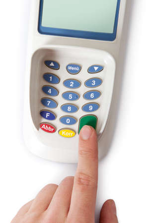 chip and pin: Bank terminal with card reader. Isolated on white