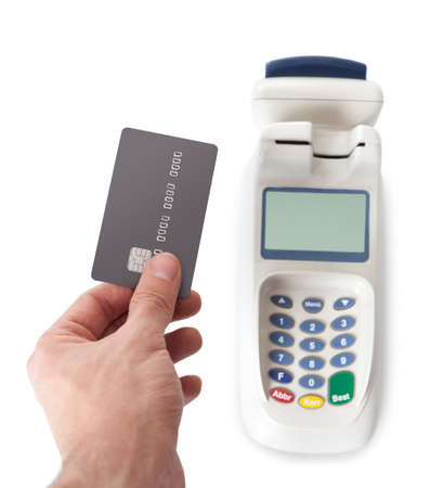 pin stripe: Paying with credit card using bank terminal. Isolated on white