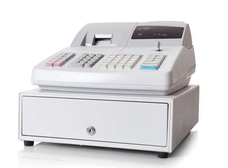 maquina registradora: Caja registradora con pantalla LCD. Aislado sobre fondo blanco