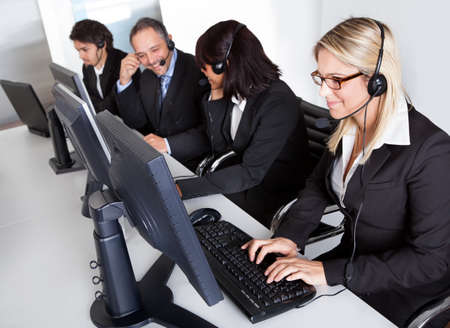 sales agent: Group of young business customer service people Stock Photo
