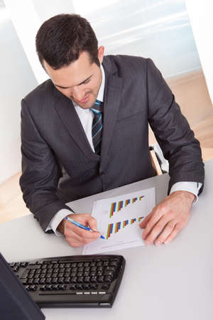 Successful businessman working at desk at the office Stock Photo - 14929461