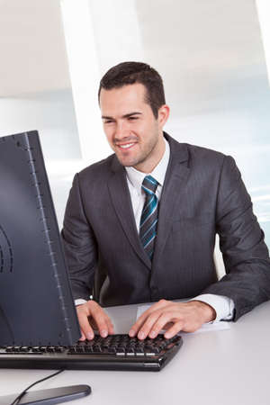 Successful businessman working at desk at the office Stock Photo - 14929693