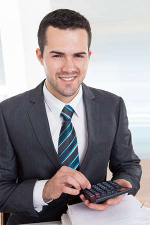 sales manager: Successful accountant working with financial data in the office Stock Photo