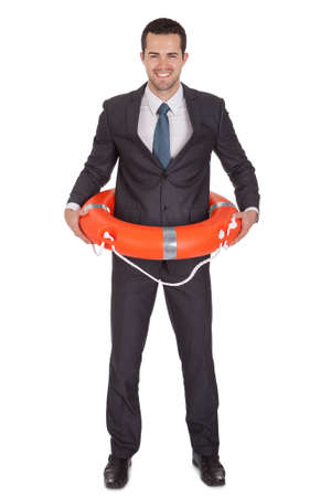 Young businessman with life buoy. Isolated on white photo
