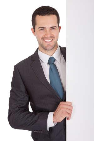 leeg bord: Succesvolle ondernemers presenteren leeg bord. Geà ¯ soleerd op wit