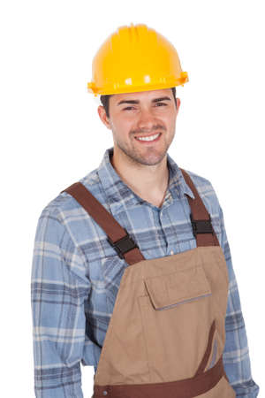 Worker wearing hard hat. Isolated on white photo