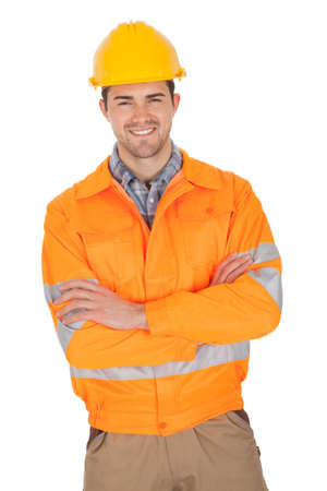 Portrait of worker wearing safety jacket. Isolated on white photo