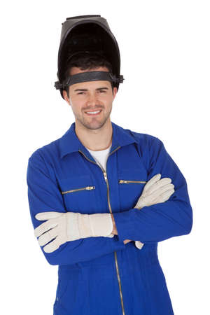 weld: Portrait of confident young welder. Isolated on white Stock Photo