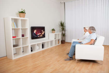 Rear view of a couple watching television with a scene on the screen of a young man and woman celebrating Stock Photo - 15179476