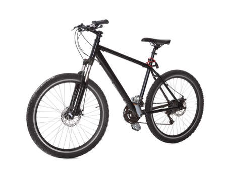 mountain bicycle: Studio shot of black mountain bike isolated on white Stock Photo