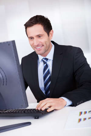 Portrait Of Happy Businessman At Workplace In the Office Stock Photo - 15404053