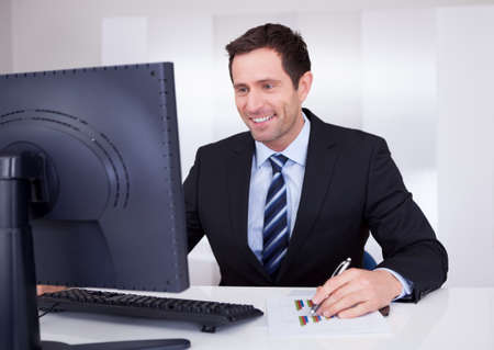 Portrait Of Happy Businessman At Workplace In the Office Stock Photo - 15404133