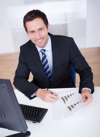 Portrait Of Happy Businessman At Workplace In the Office Stock Photo - 15404040