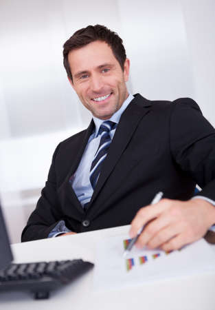 Portrait Of Happy Businessman At Workplace In the Office Stock Photo - 15403880