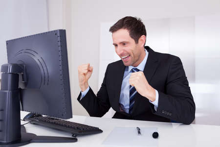 Portrait Of Happy Businessman Cheering At Workplace Stock Photo - 15403884