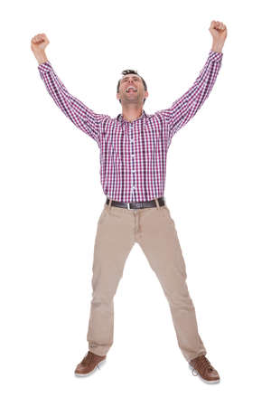Portrait Of Young Man Cheering Isolated On White Background Stock Photo - 15403650