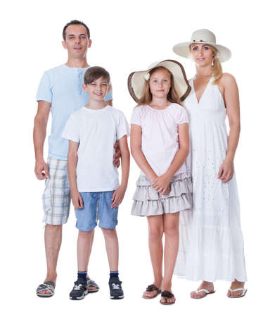 A Happy Family With Two Children Going For Vacation Isolated On White Background Stock Photo - 15574811